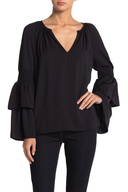 Image of Ramy Brook Lali V-Neck Tiered Sleeve Top