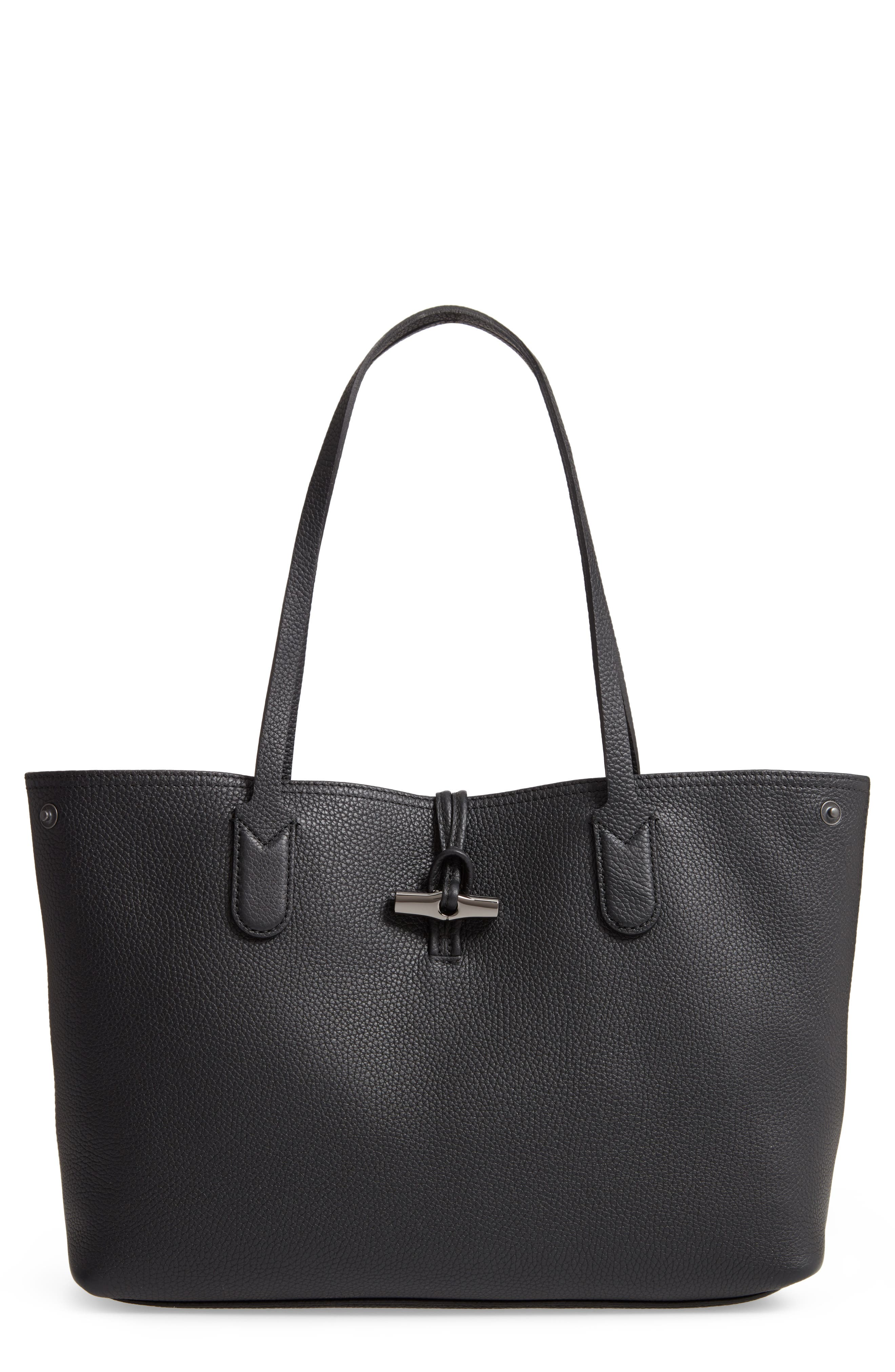 ,                             Roseau Essential Mid Leather Tote,                             Main thumbnail 1, color,                             BLACK