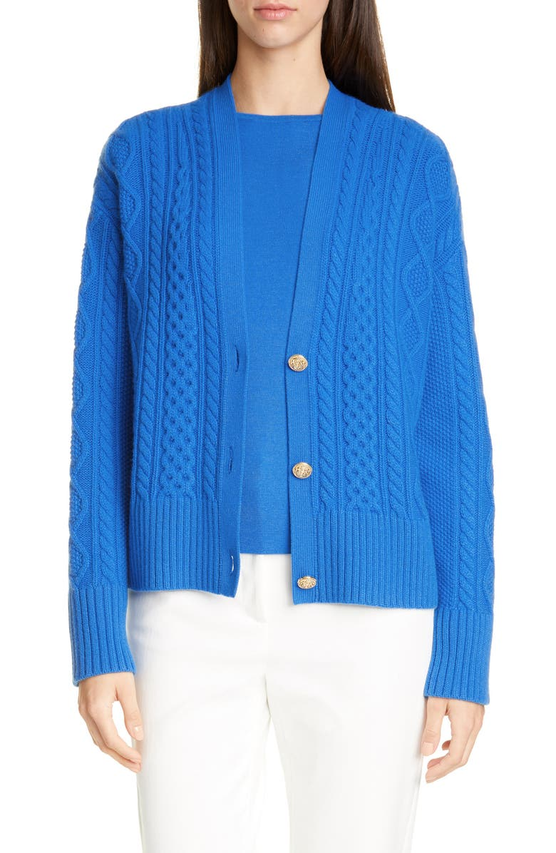 ST. JOHN COLLECTION Galway Cable Knit Cardigan, Main, color, SCUBA BLUE
