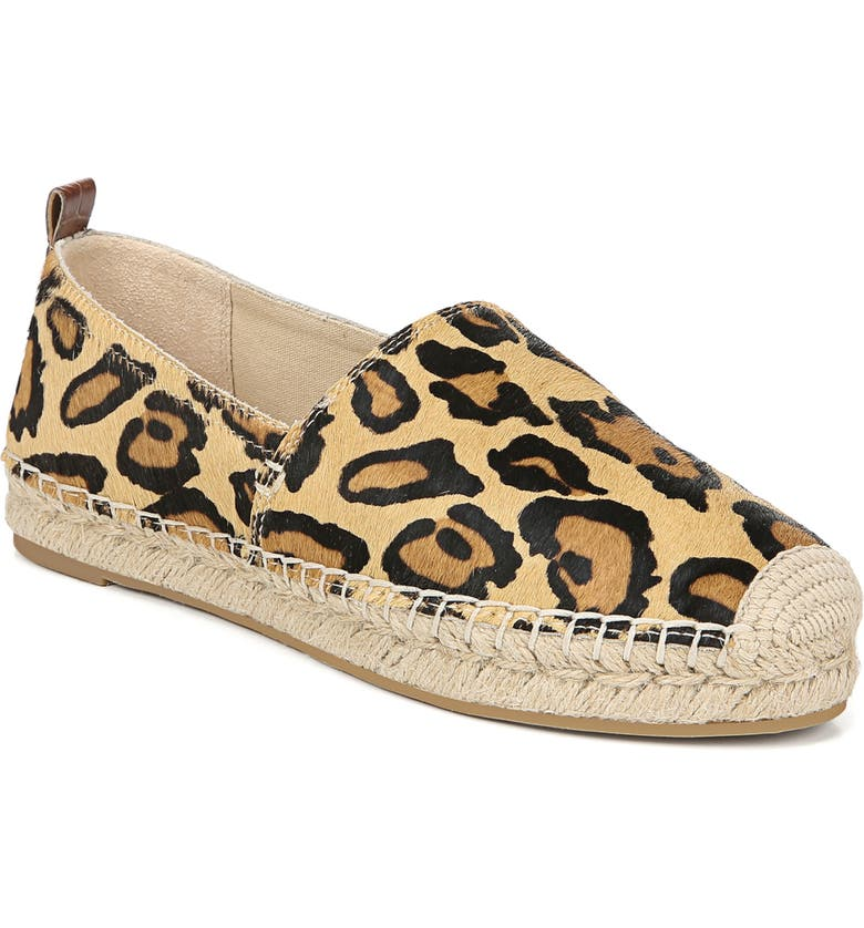 SAM EDELMAN Khloe Genuine Calf Hair Espadrille Flat, Main, color, NEW NUDE LEOPARD CALF HAIR