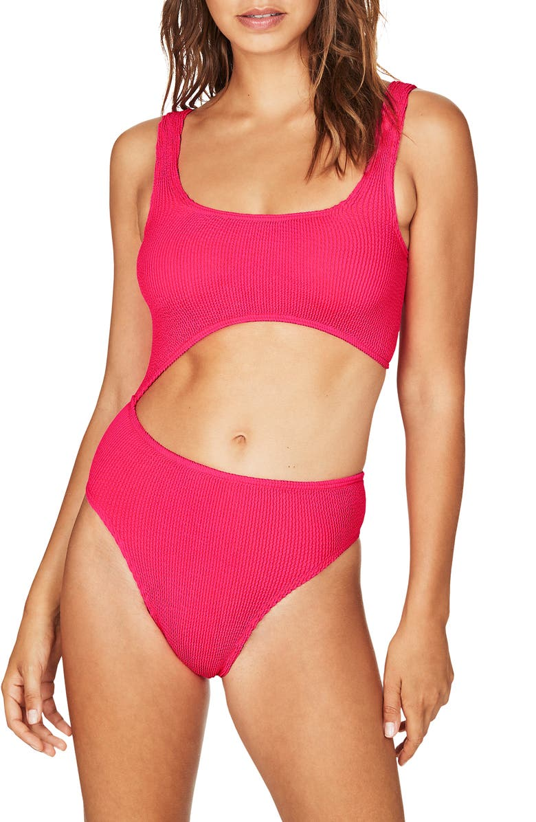BOUND BY BOND-EYE The Maya One-Piece Swimsuit, Main, color, NEON PINK