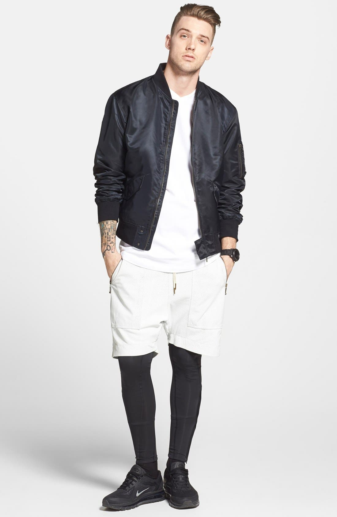 ,                             'Gabe' Perforated Leather Jogger Shorts,                             Alternate thumbnail 5, color,                             100
