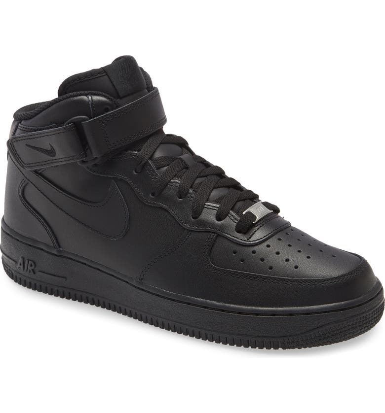 NIKE Air Force 1 Mid '07 Sneaker, Main, color, BLACK/ BLACK/ BLACK