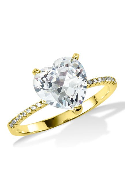 Image of Savvy Cie 18K Gold Plated Heart Shaped CZ Ring