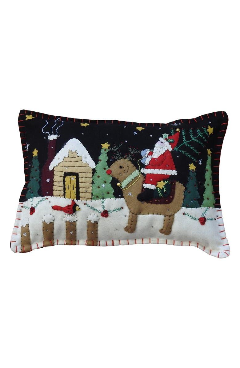 NEW WORLD ARTS Santa Accent Pillow, Main, color, BLACK MULTI