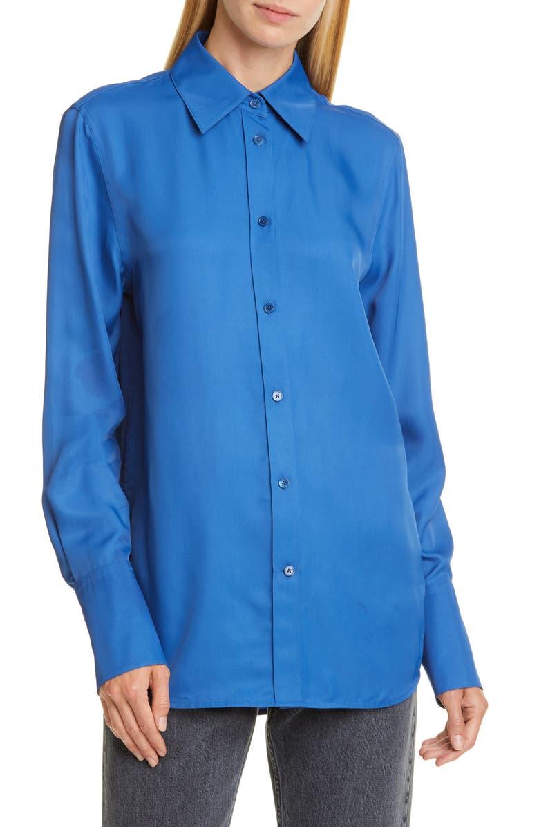 HELMUT LANG Point Collar Longline Shirt, Main, color, COBALT