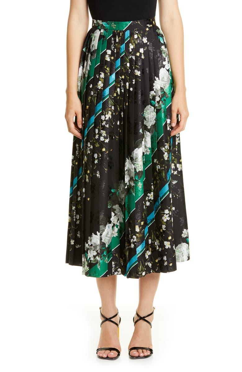 ERDEM Floral Stripe Pleated Midi Skirt, Main, color, BLACK / WHITE