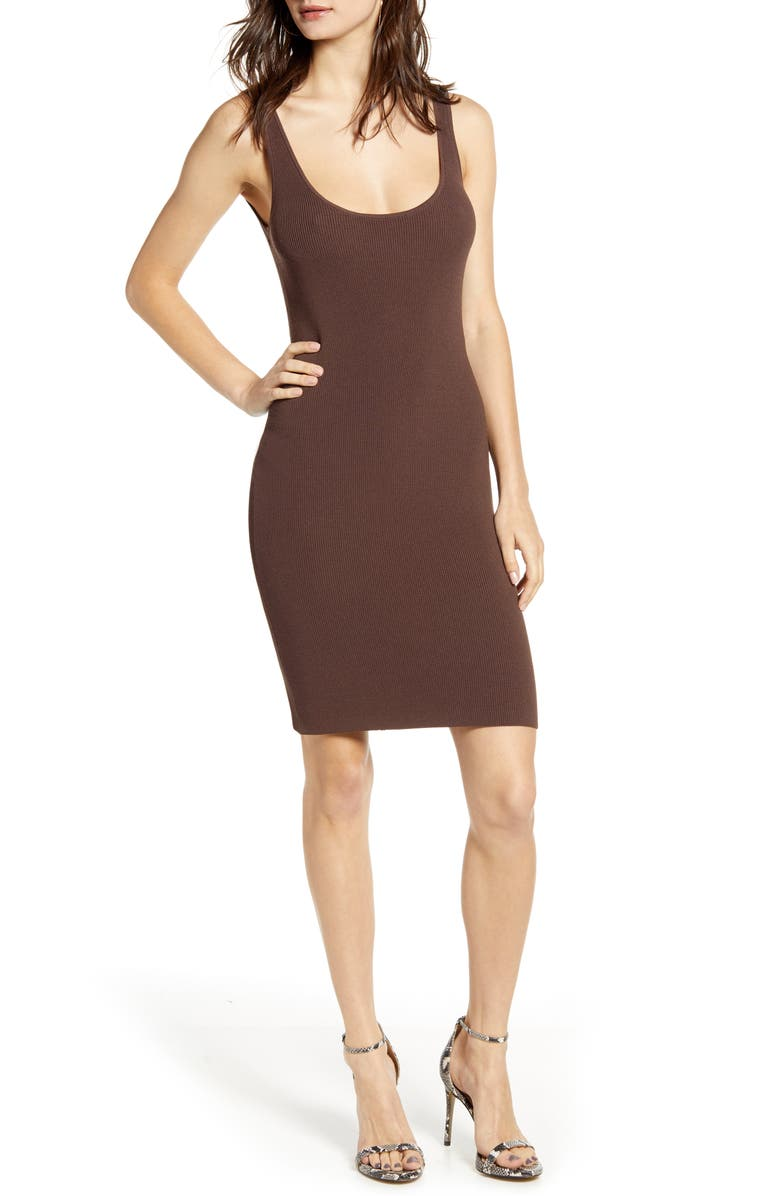 LEITH Date Night Body-Con Sweater Dress, Main, color, BROWN FAWN