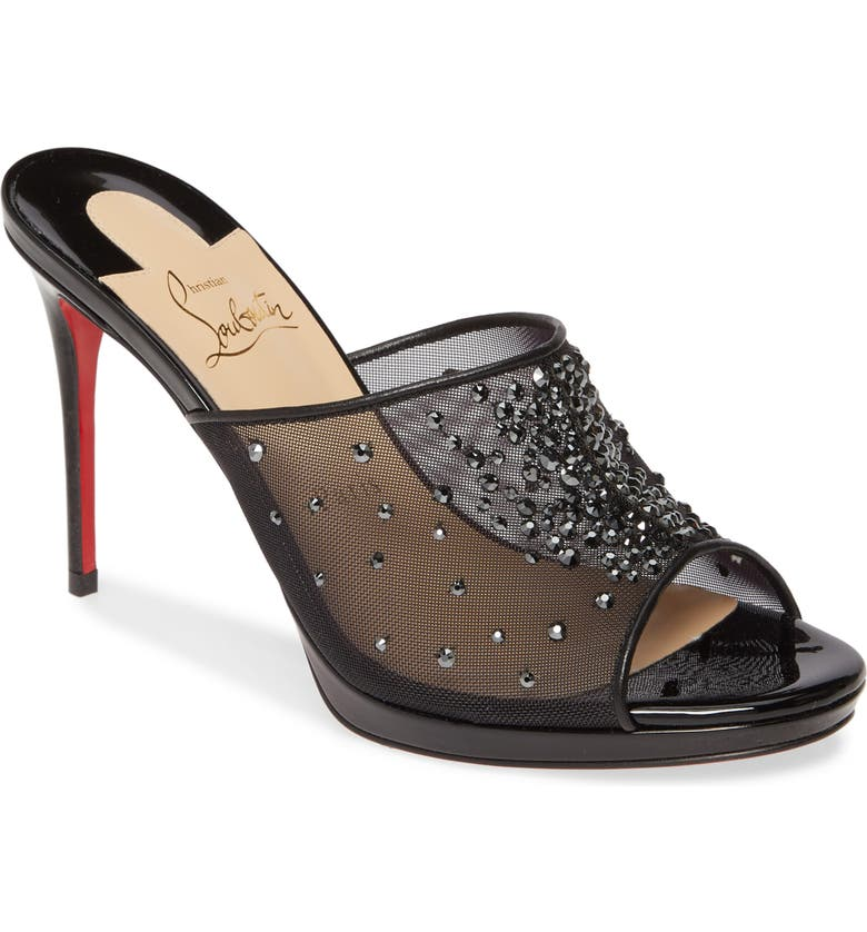 CHRISTIAN LOUBOUTIN Violas Crystal Embellished Mule, Main, color, BLACK