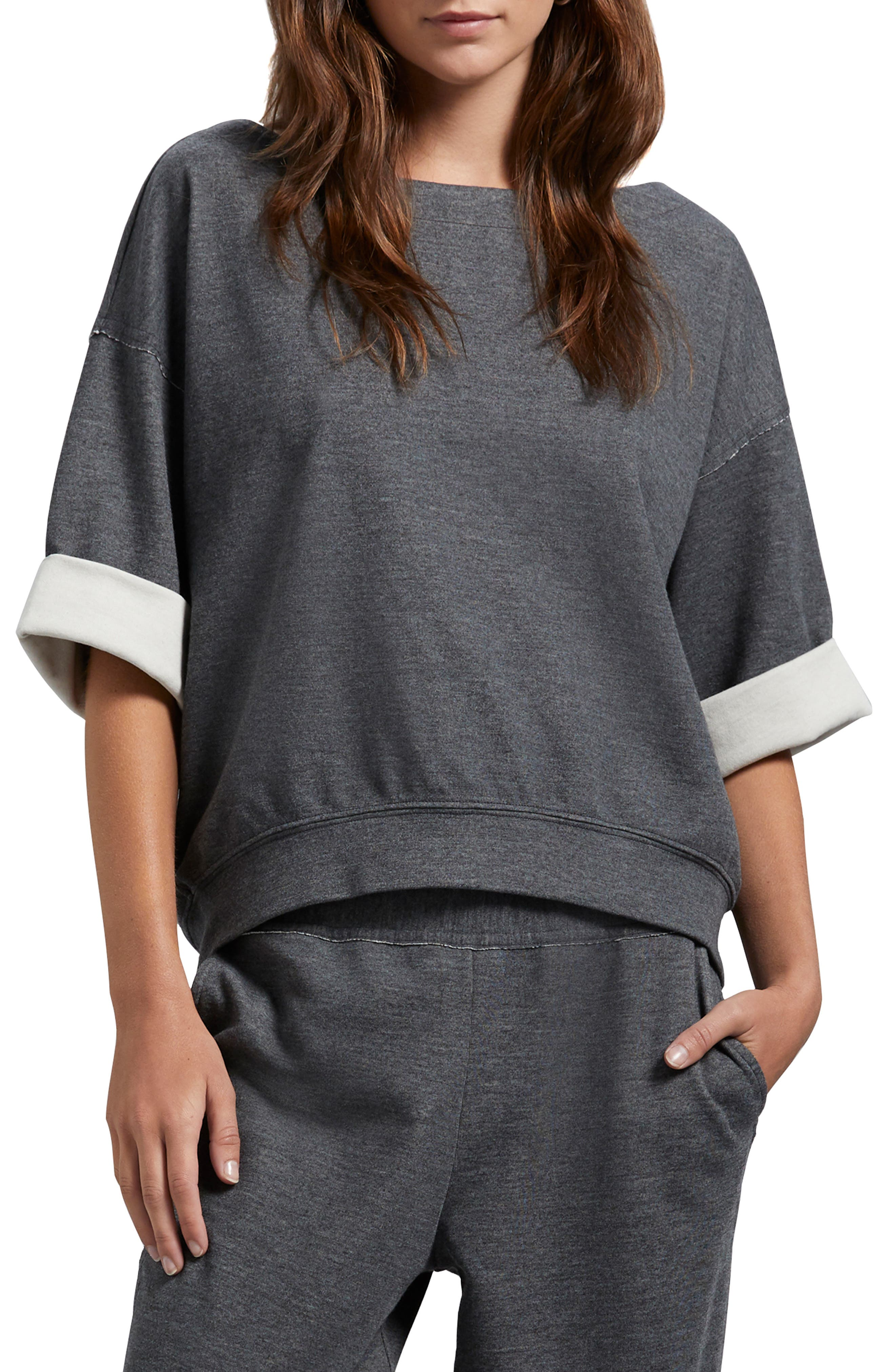 Image of Michael Stars Westwood Reversible Elbow Sleeve Pullover