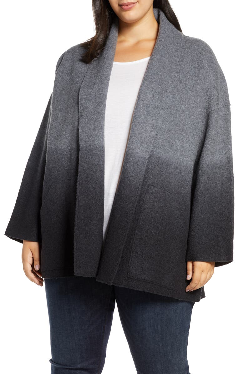 EILEEN FISHER Shawl Collar Jacket, Main, color, ASH/ BLACK