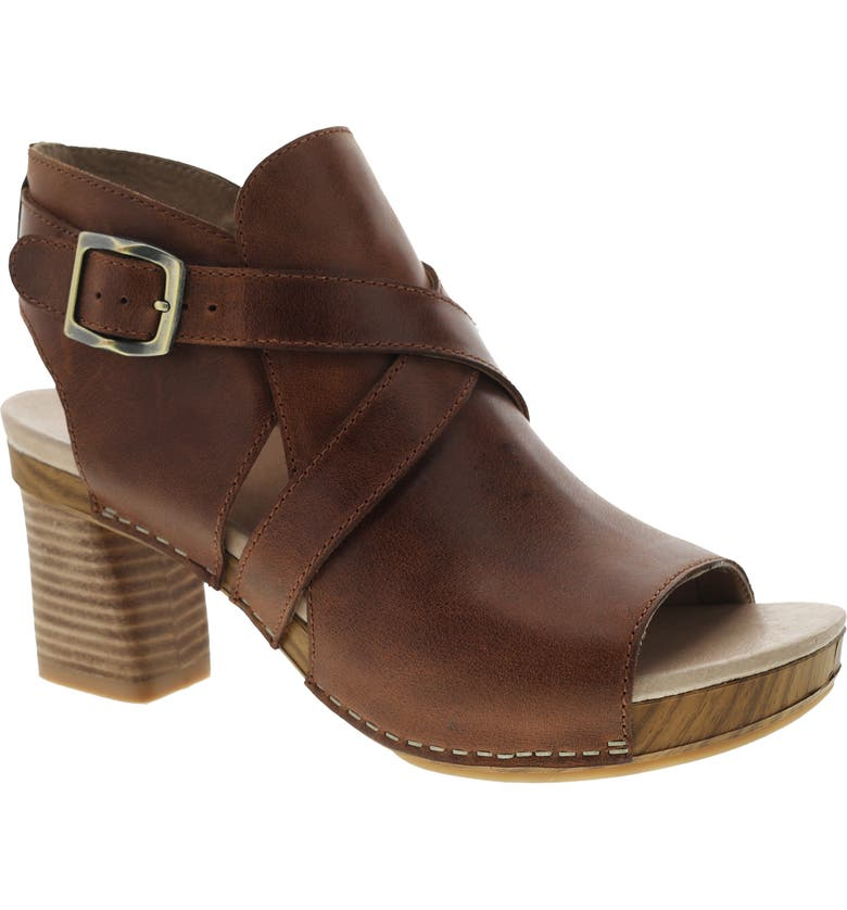 DANSKO Arlene Platform Sandal, Main, color, CHESTNUT BURNISHED LEATHER