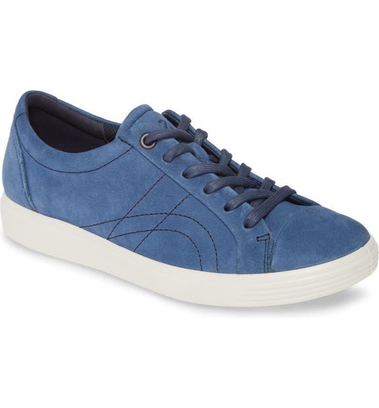 ECCO Soft 7 Stitch Sneaker, Main, color, TRUE NAVY NUBUCK