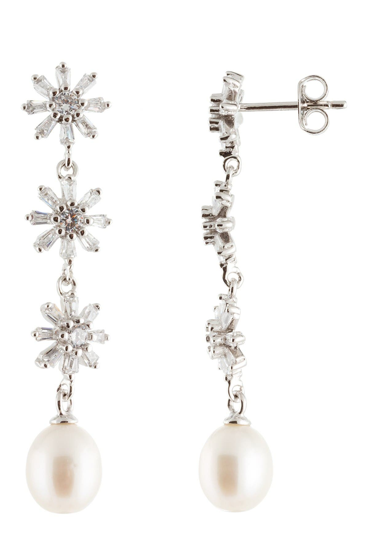Image of Splendid Pearls Sterling Silver CZ & 7.5-8mm Cultured Freshwater Pearl Floral Linear Drop Earrings