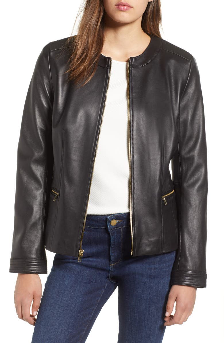 COLE HAAN Smooth Lambskin Leather Jacket, Main, color, 002