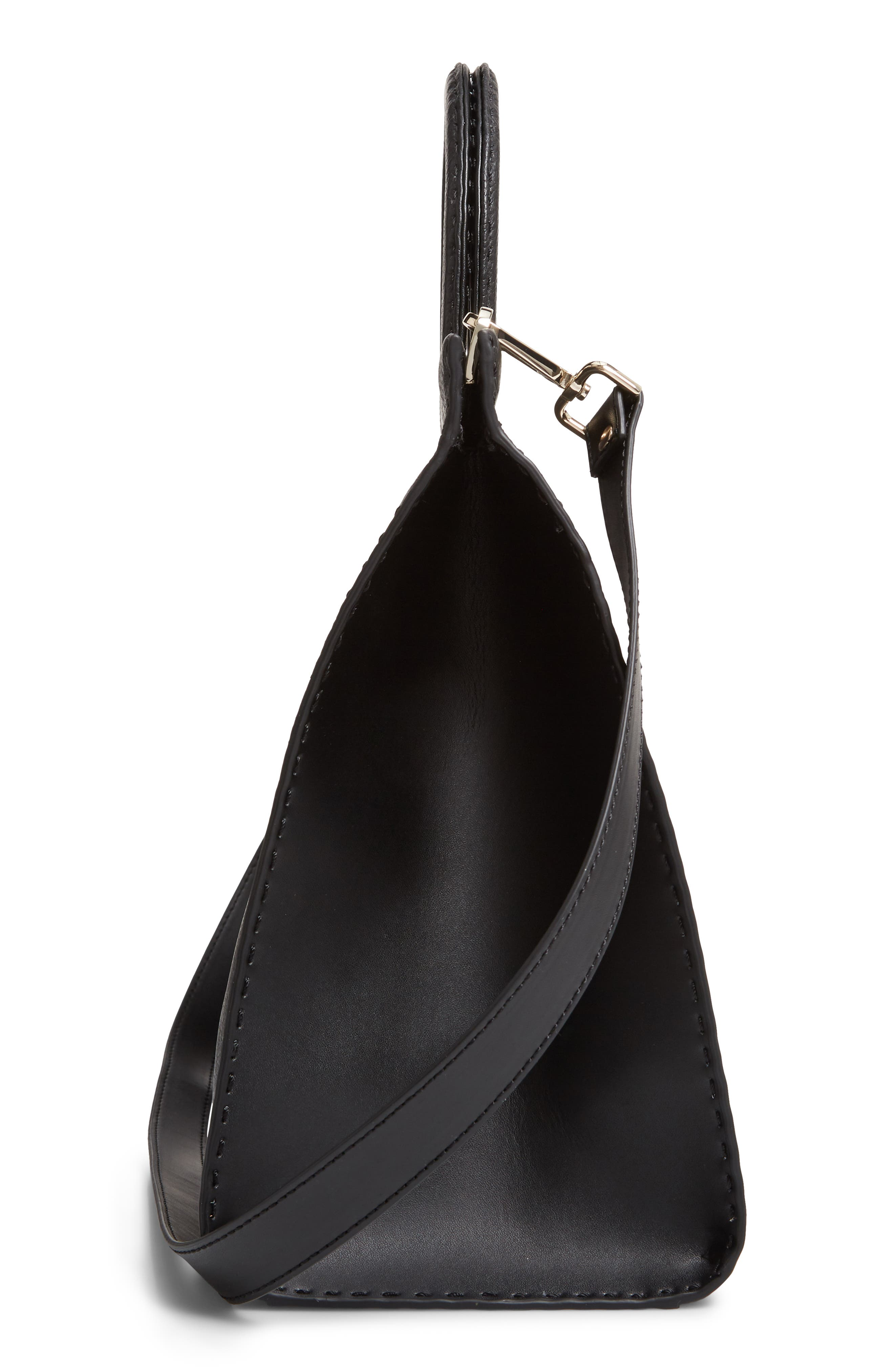 ,                             Miriian Stab Stitch Large Leather Tote,                             Alternate thumbnail 6, color,                             BLACK