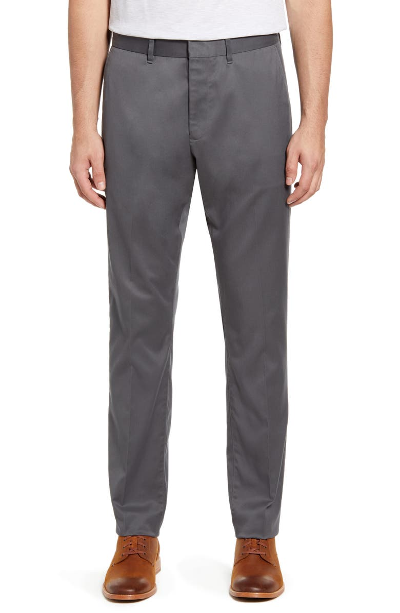 NORDSTROM MEN'S SHOP Athletic Fit Leg Non-Iron Chinos, Main, color, GREY GATE