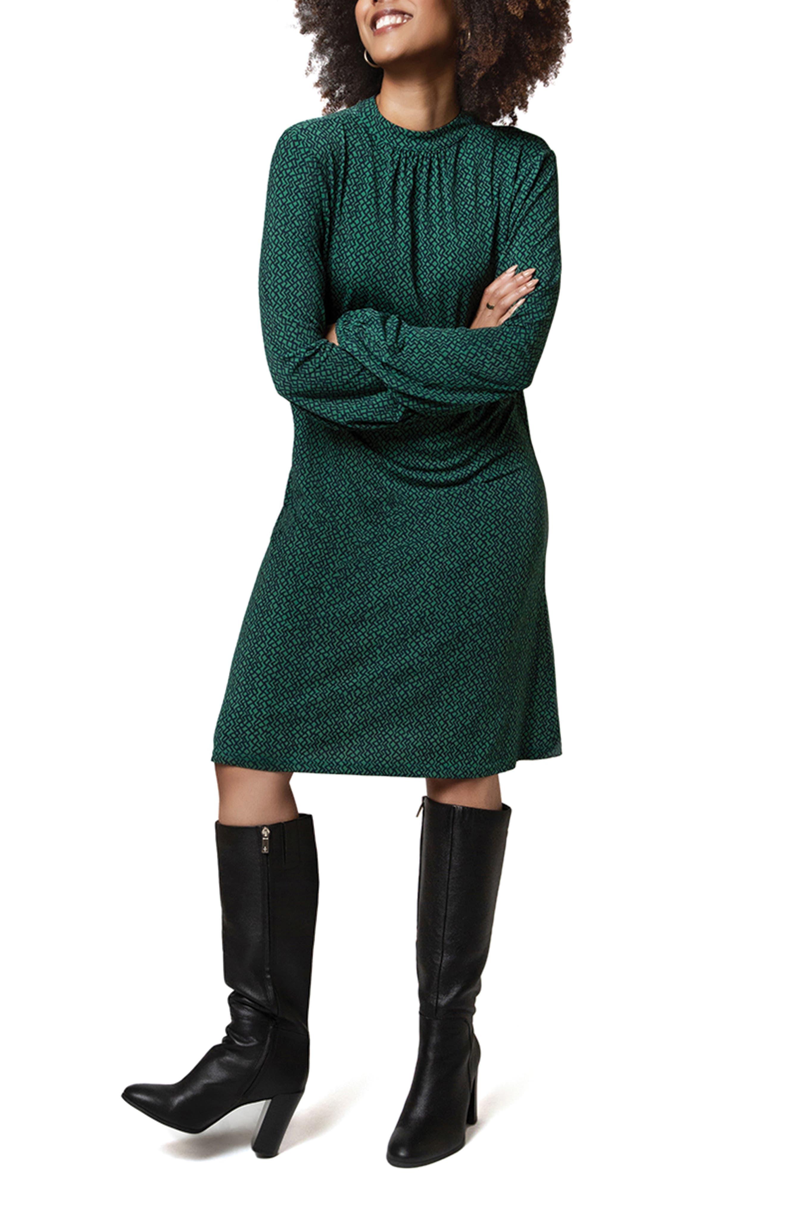 Dana Geo Print Long Sleeve Dress