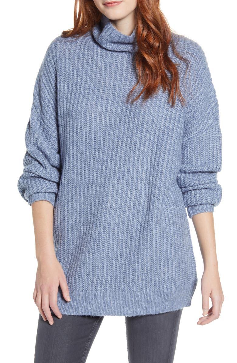 PRESS Oversize Turtleneck Long Sweater, Main, color, RUSTIC BLUE