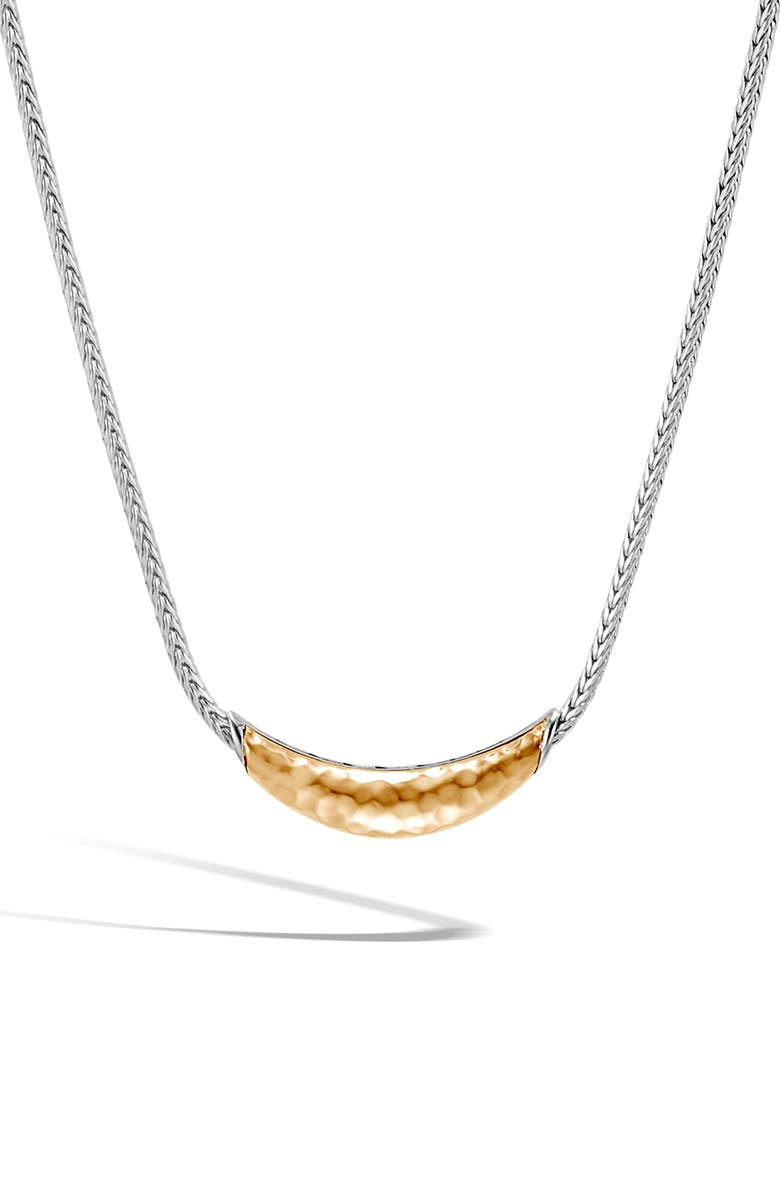JOHN HARDY Classic Chain Hammered Station Necklace, Main, color, SILVER/ GOLD