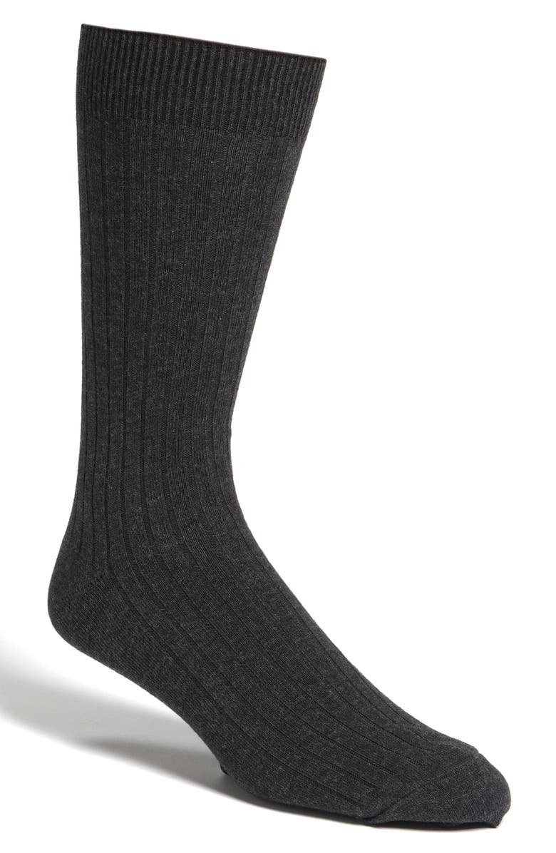 NORDSTROM MEN'S SHOP Cotton Blend Dress Socks, Main, color, BLACK HEATHER