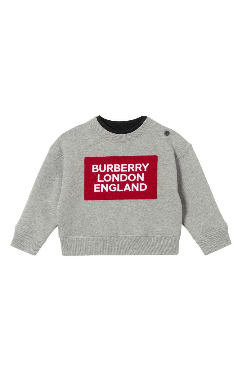 BURBERRY Mini Fabio Sweatshirt, Main, color, GREY MELANGE