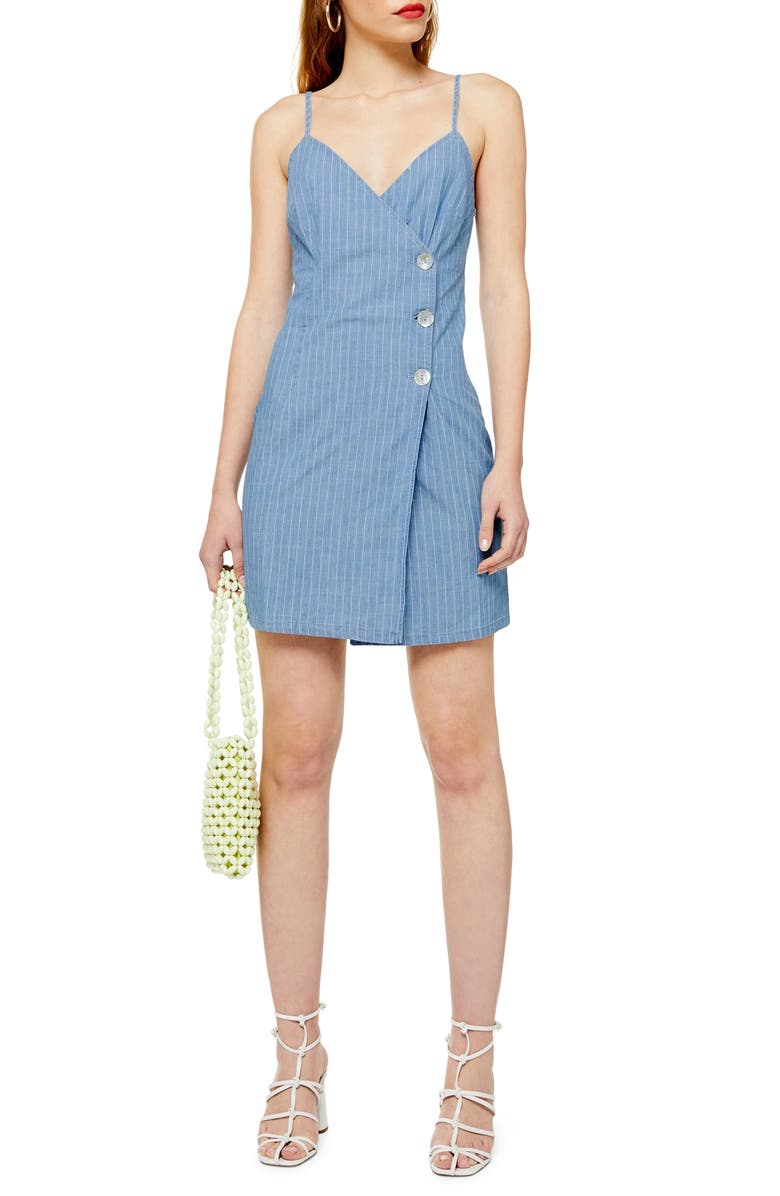 TOPSHOP Stripe Denim Wrap Minidress, Main, color, MID DENIM