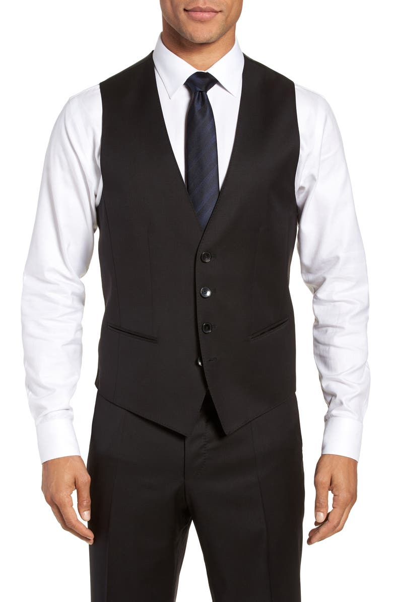 BOSS Wilson CYL Slim Fit Vest, Main, color, BLACK