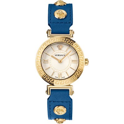 Versace Tribute Leather Strap Watch, 35mm