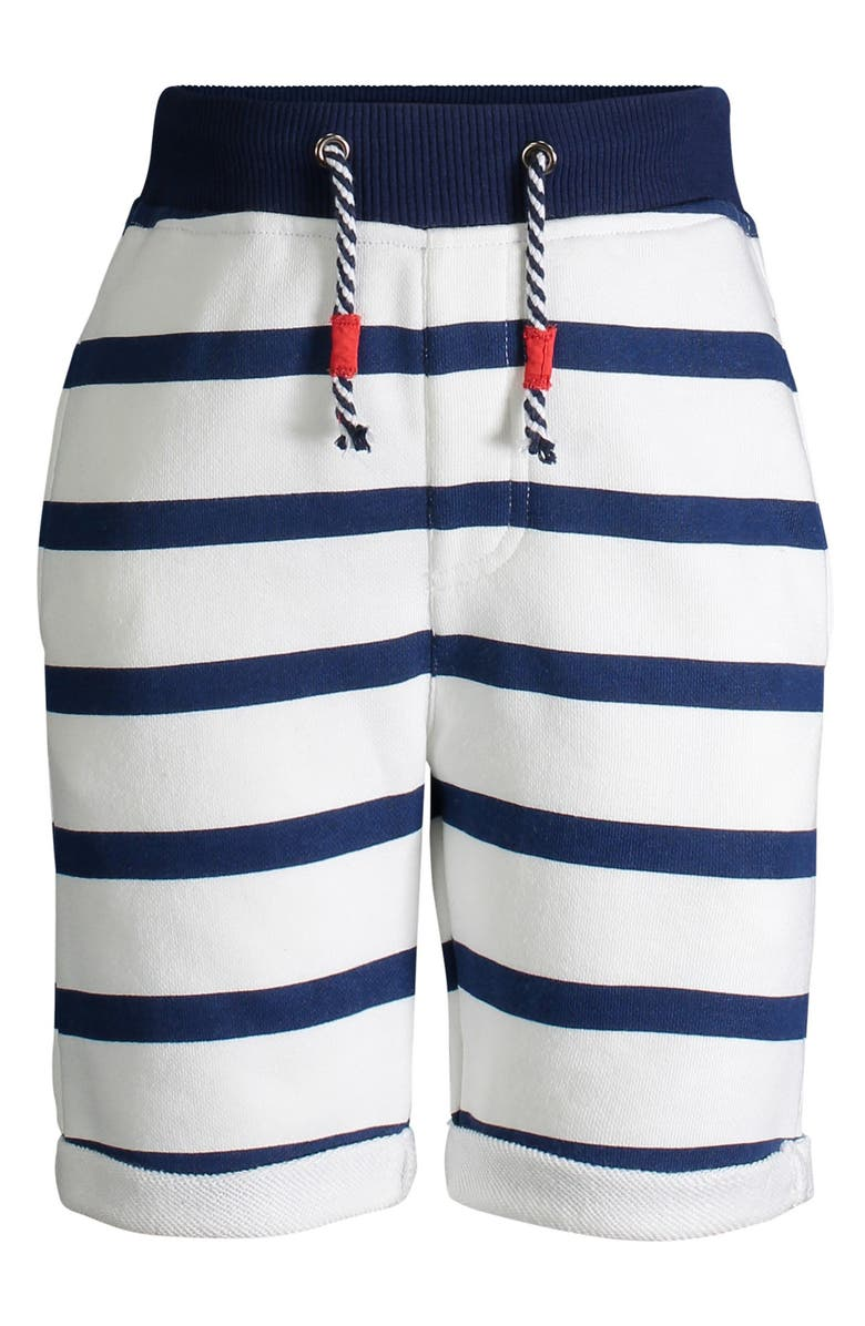 ANDY & EVAN Stripe French Terry Shorts, Main, color, WHITE