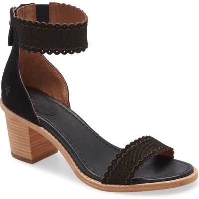 Frye Brielle Scallop Back Zip Sandal, Black