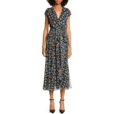 Jason Wu Floral Print Silk Wrap Dress, Black
