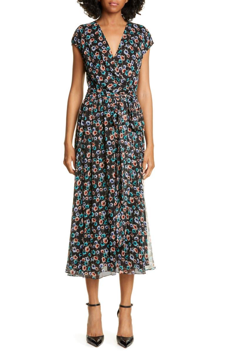JASON WU Floral Print Silk Wrap Dress, Main, color, BLACK MULTI
