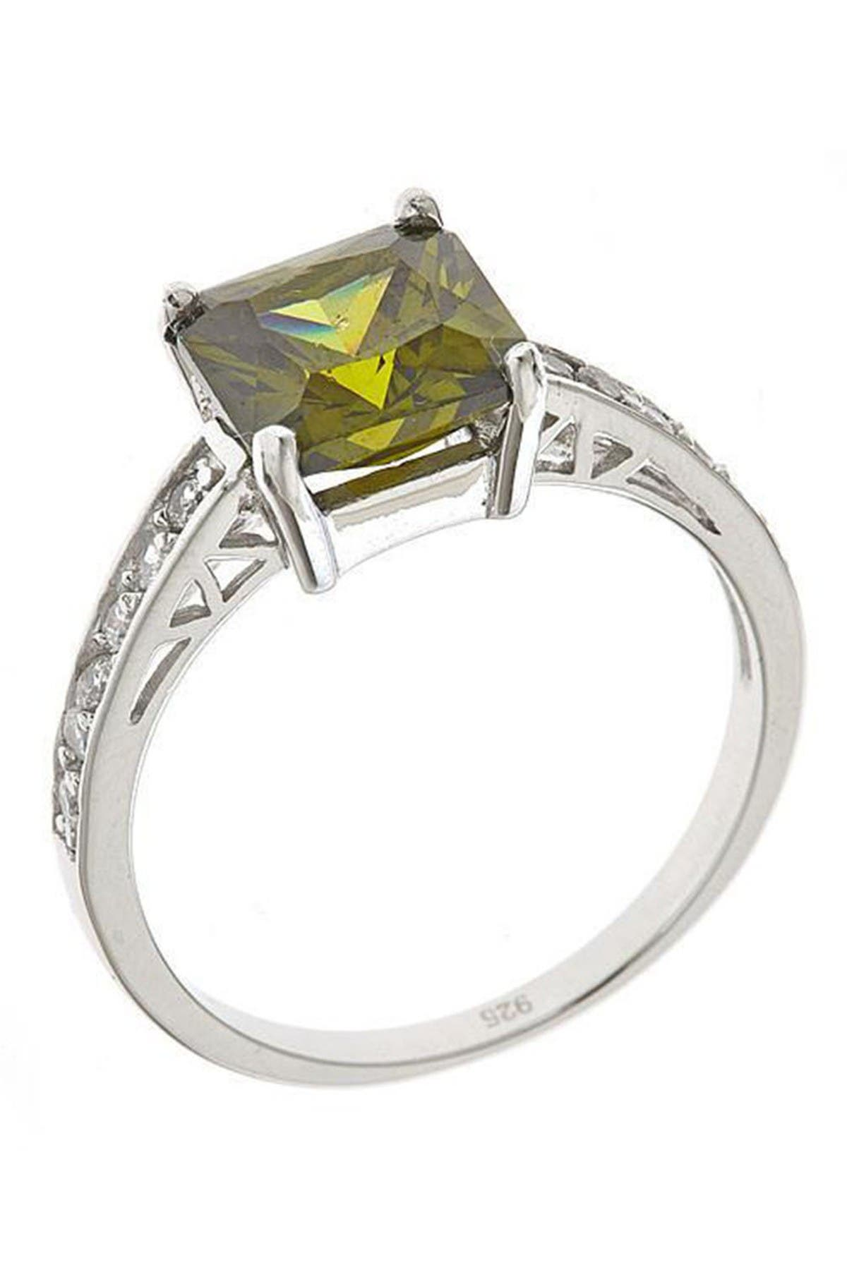 Image of Sterling Forever Sterling Silver Princess Cut Peridot CZ Engagement Ring
