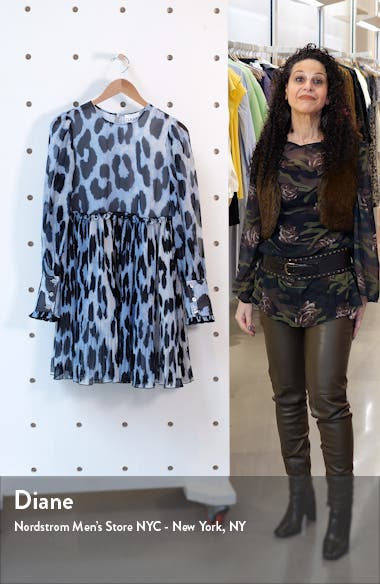 Long Sleeve Pleated Georgette Dress, sales video thumbnail