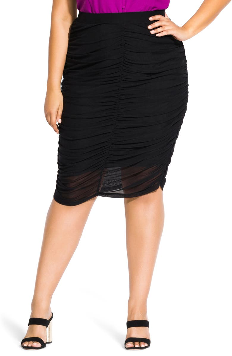 CITY CHIC Annabella Ruched Skirt, Main, color, BLACK