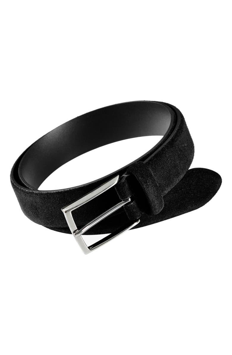 ANDERSON'S Suede Belt, Main, color, BLACK