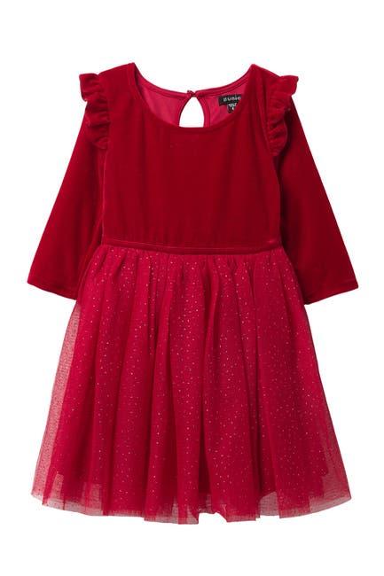 Image of Zunie Velvet Glittery Dress (Toddler Girls & Little Girls)