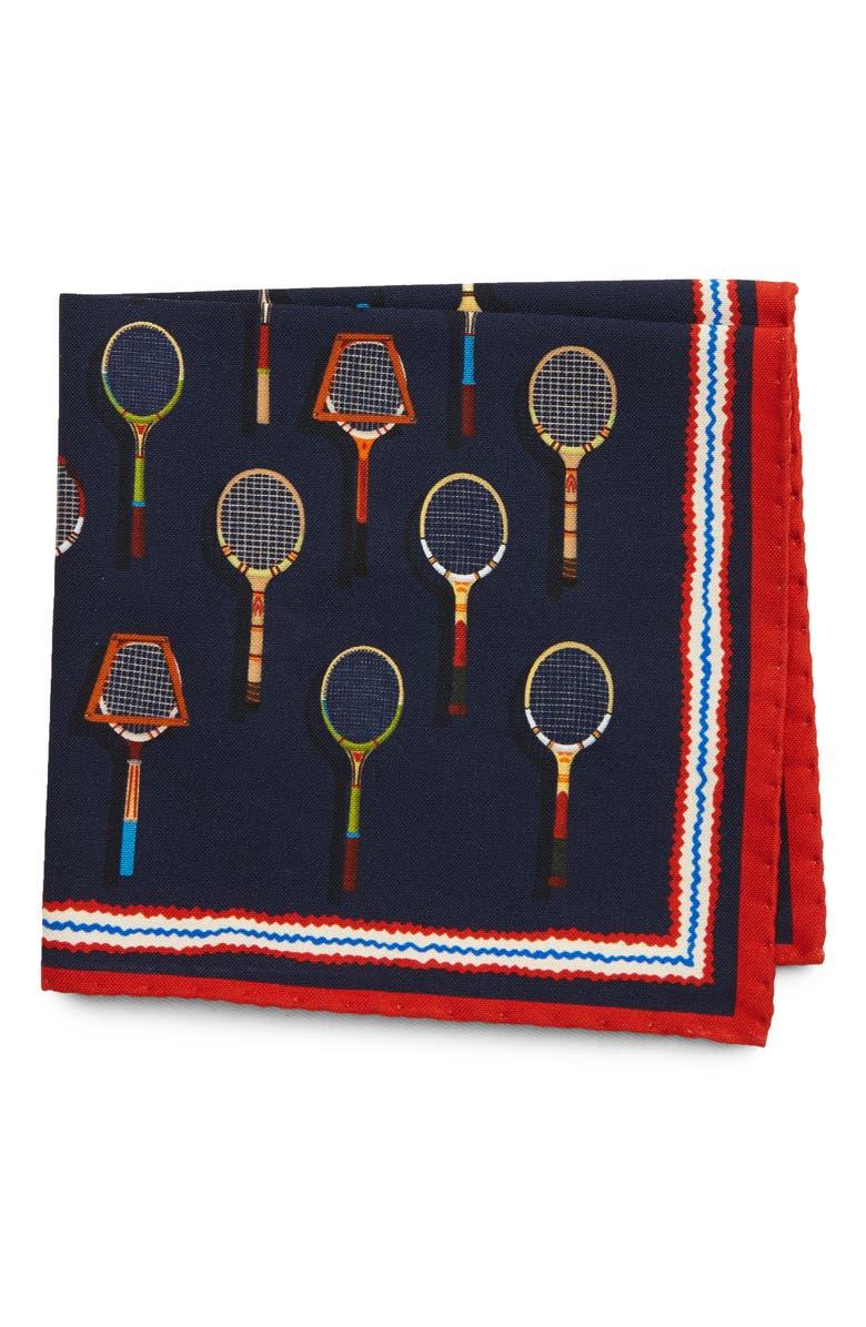 ETON Tennis Racket Cotton & Silk Pocket Square, Main, color, BLUE
