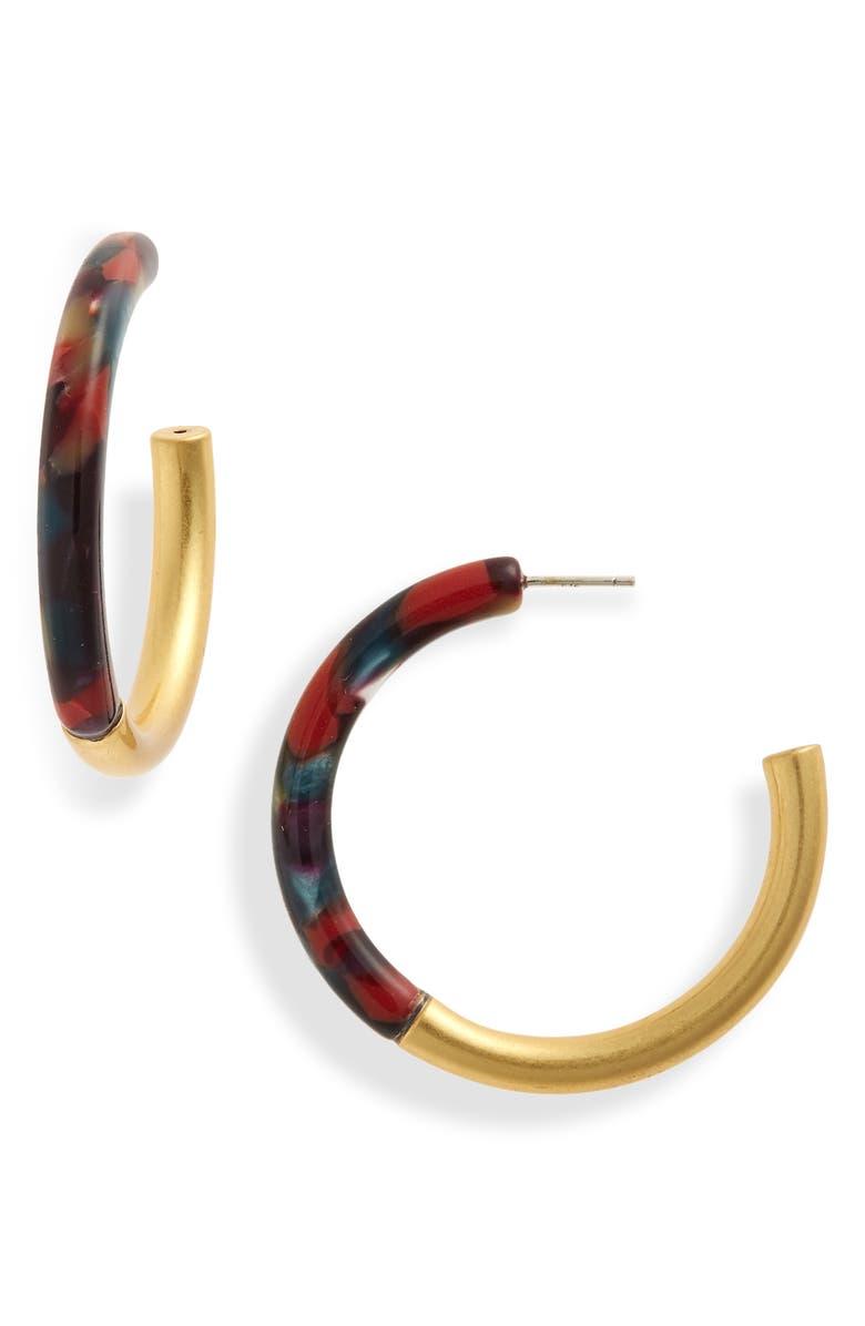 MADEWELL Half Acetate Hoop Earrings, Main, color, HOLIDAY MULTI