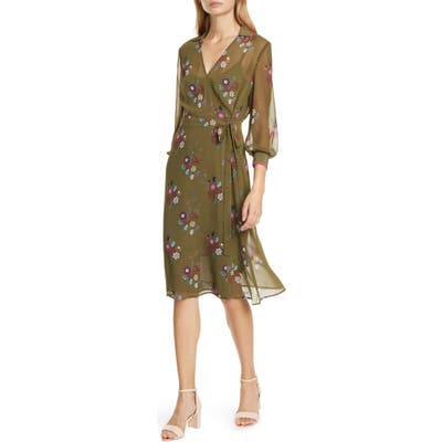 Ted Baker London Colour By Numbers Mammil Floral Long Sleeve Wrap Dress, Green