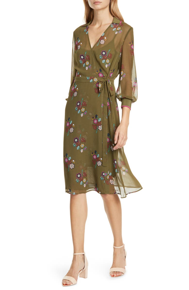 TED BAKER LONDON Colour by Numbers Mammil Floral Long Sleeve Wrap Dress, Main, color, KHAKI