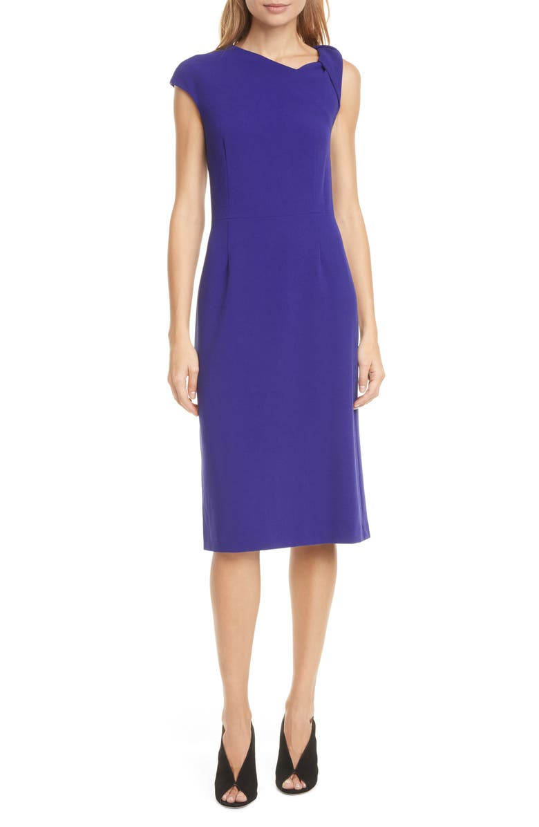 JUDITH & CHARLES Milo Twist Sleeve Cocktail Dress, Main, color, BRIGHT BLUE