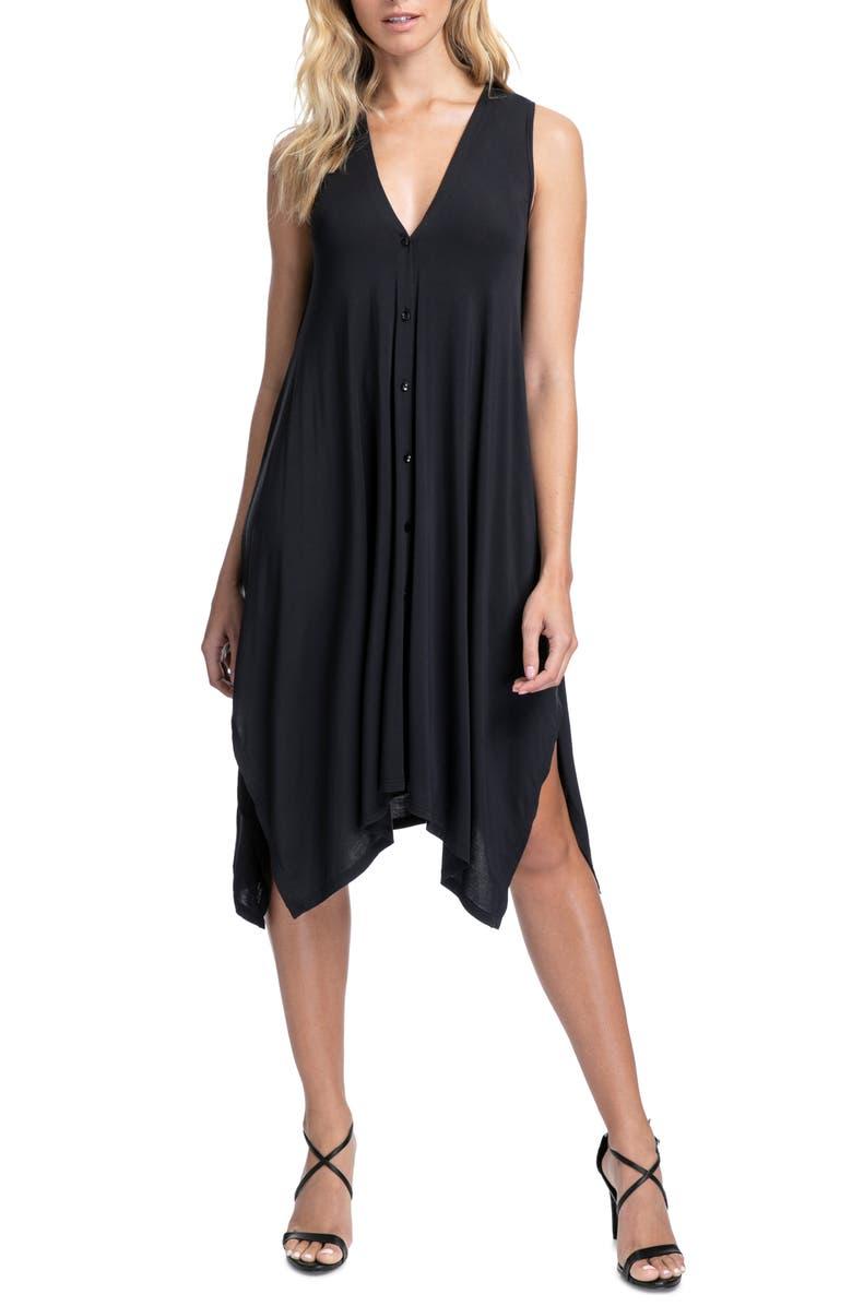 PROFILE BY GOTTEX Bel Air Handkerchief Hem Cover-Up Dress, Main, color, 001