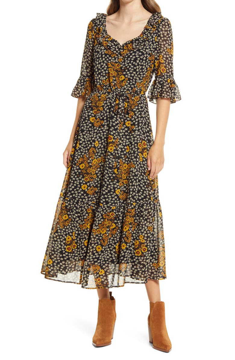 SAM EDELMAN Floral Ruffle Georgette A-Line Dress, Main, color, DAISY