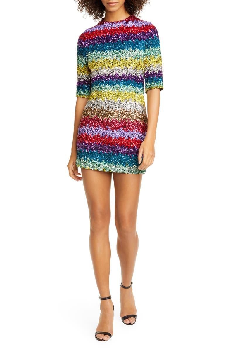 ALICE + OLIVIA Inka Sequin Stripe Mock Neck Minidress, Main, color, MULTI