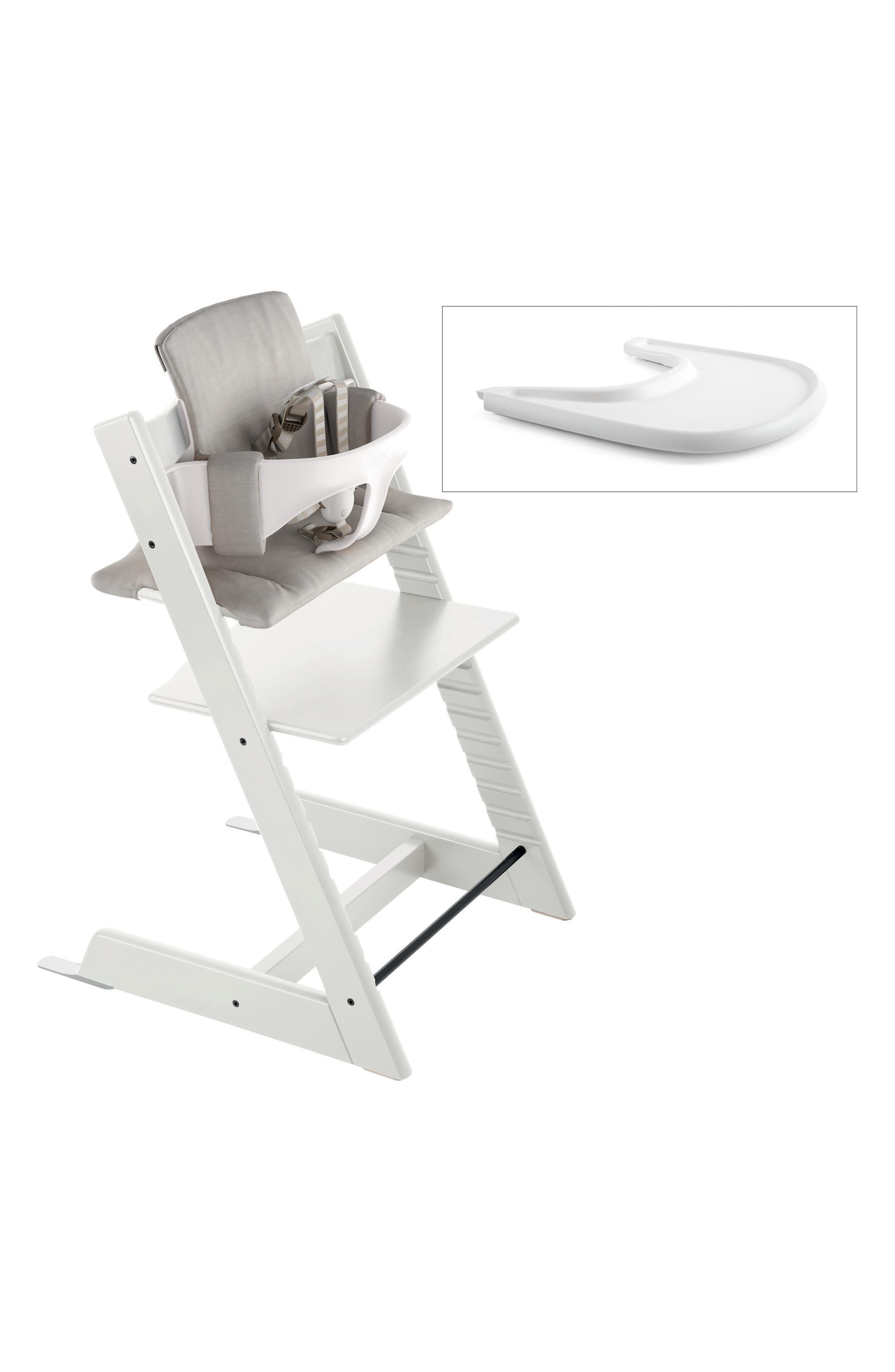 Tripp Trapp<sup>®</sup> Chair, Baby Set, Cushion & Tray Set, Main, color, WHITE W/ TIMELESS GREY