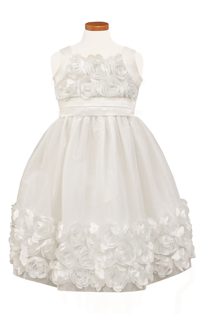 SORBET Rose Bodice & Border Dress, Main, color, WHITE