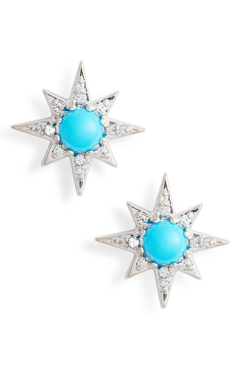 ANZIE Mini Starburst Stud Earrings, Main, color, TURQUOISE