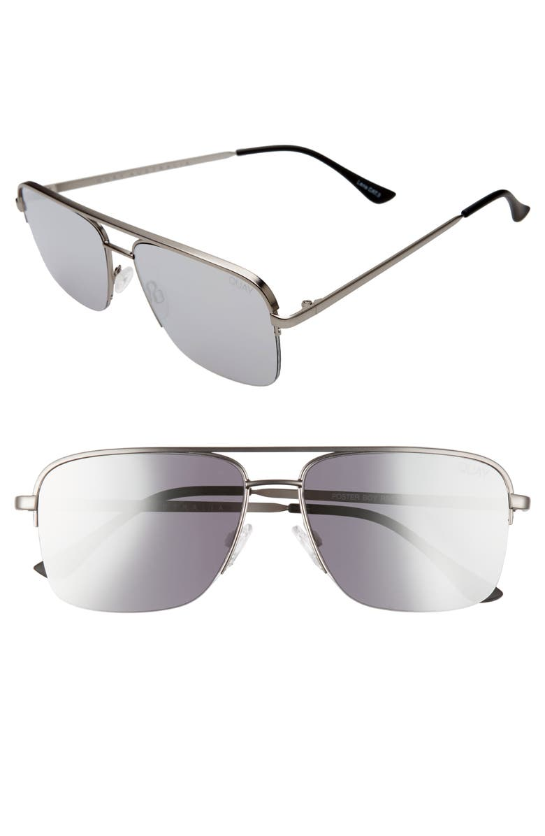 QUAY AUSTRALIA Poster Boy 47mm Semi Rimless Navigator Sunglasses, Main, color, MATTE GUNMETAL/ SMOKE